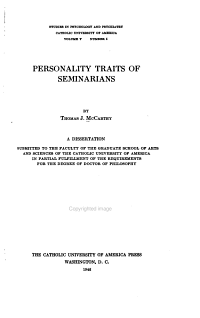 Personality Traits of Seminarians