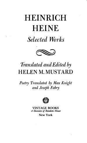 Heinrich Heine: Selected Works
