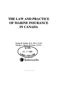 The Law and Practice of Marine Insurance in Canada