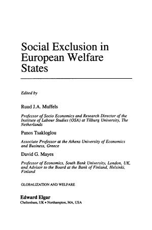 Social Exclusion in European Welfare States PDF