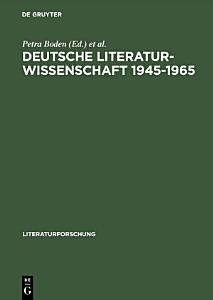 Deutsche Literaturwissenschaft 1945   1965 PDF