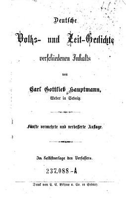 Deutsche Volks  und Zeit Gedichte verschiedenen Inhalts PDF
