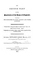 The Second Part of the Institutes of the Laws of England PDF