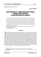 Does India have a stable demand for money function after reforms  A macroeconometric analysis PDF