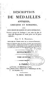 Description de medailles antiques, etc: Supplement, Volume 8