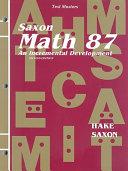 Test Masters for Saxon Math 87 PDF