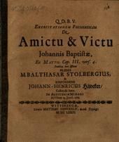 Exercitationem philologicam de amictu & victu Johannis Baptistae