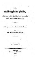 Die malbergische Glosse  ein Rest alt keltischer Sprache und Rechtsauffa  ung PDF