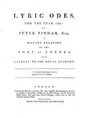 Lyric Odes, for the Year 1785