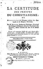 Certitude des preuves du Christianisme