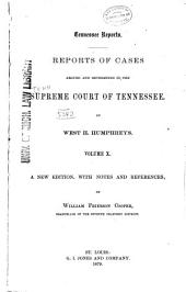 Reports of Cases Argued and Determined in the Supreme Court of Tennessee: Volume 29