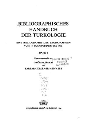 Bibliographisches Handbuch der Turkologie PDF