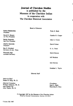 Journal of Cherokee Studies PDF