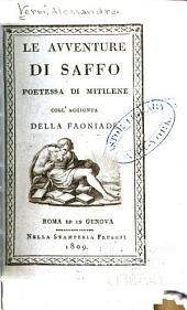 Le avventure di Saffo: poetessa di Mitilene, coll' aggiunta della Faoniade