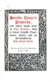 Sancho Panza's Proverbs, and Others which Occur in Don Quixote