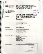 Umatilla National Forest (N.F.), Cobbler II Timber Sale and Fuels Reduction Project
