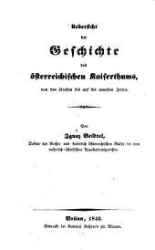 Übersicht der Geschichte des österreichischen Kaiserthums