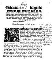 Wage. Ordonnantie, volgende dewelcke [...] in [...] 'sHertogenbosch [...] den impost van de waeghgelde, van wegen de Staten Generael [...] ontfangen sal werden [...]. Gearresteert den 23. julii 1716