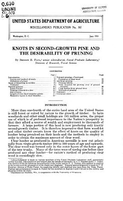 Knots in Second-growth Pine and the Desirability of Pruning