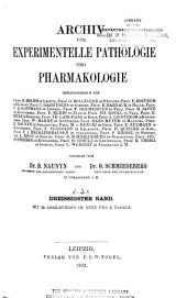 Archiv für experimentelle Pathologie und Pharmakologie: Bände 21-30