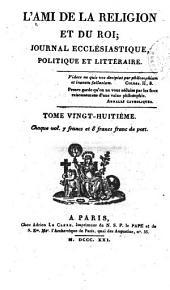 L'Ami de la religion: journal ecclésiastique, politique et littéraire ..., Volume28