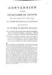 Convention pour l'évacuation de l'Égypte par le corps de troupes de l'Armée française et auxiliaires aux ordres du général de division Belliard, etc. (27 juin 1801.).
