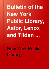 Bulletin of the New York Public Library: Volume 20