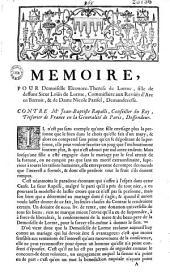 Memoire pour Demoiselle Eleonore-Therese de Lorme, fille de deffunt Sieur Loüis de Lorme... et de Dame Nicole Parisel, Demanderesse. Contre Me Jean-Baptiste Rapalli..., Deffendeur... (signé Terrasson, Avocat)