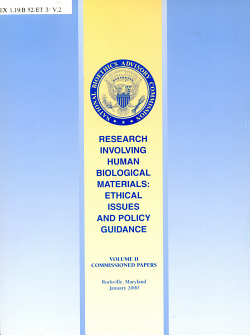 Research Involving Human Biological Materials  Commissioned papers PDF