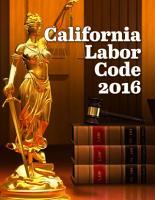 California Labor Code 2016 PDF