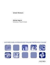 Greek Rhetoric  Oxford Bibliographies Online Research Guide PDF