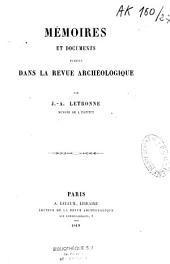 Mémoires et documents publiés dans la Revue archéologique