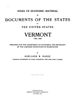 Index of Economic Material in Documents of the States of the United States: Vermont, 1789-1904