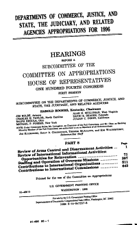 Departments of Commerce  Justice  and State  the Judiciary  and Related Agencies Appropriations for 1996  Review of arms control and disarmament activities PDF