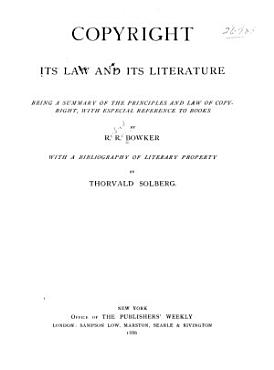 Copyright  Its Law and Its Literature PDF