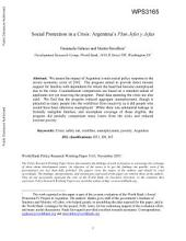 Social Protection in a Crisis: Argentina's Plan Jefes Y Jefas