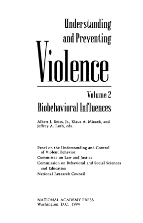 Understanding and Preventing Violence  Volume 2 PDF