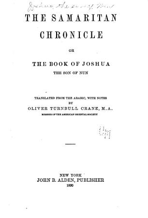 The Samaritan Chronicle Or The Book of Joshua the Son of Nun PDF