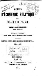 Cours d'économie politique fait au Collége de France: Volume1