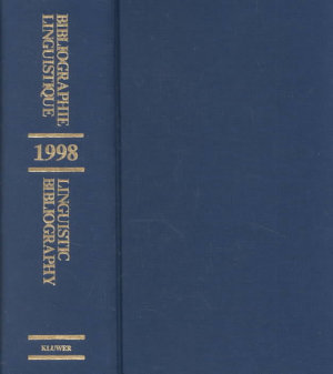 Bibliographie linguistique de l ann  e 1998 Linguistic Bibliography for the Year 1998 PDF