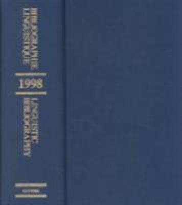 Bibliographie Linguistique De Lannee 1998 Linguistic Bibliography For The Year 1998
