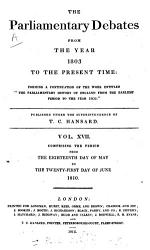 The Parliamentary Debates From The Year 1803 To The Present Time 18 Book PDF