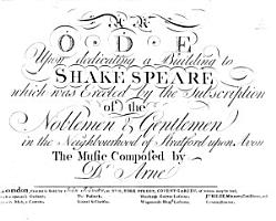 An Ode upon dedicating a Building to Shakespeare which was erected     in the neighbourhood of Stratford upon Avon   Words by David Garrick   PDF