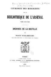 Catalogue des manuscrits de la Bibliothèque de l'Arsenal