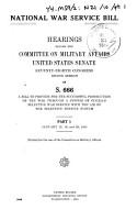 National War Service Bill  Hearings      on S  666      Jan 12  19    PDF