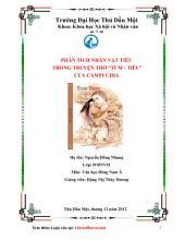 Phân tích nhân vật Tiêu trong truyện thơ Tum - Tiêu của Campuchia: Luận văn tốt nghiệp