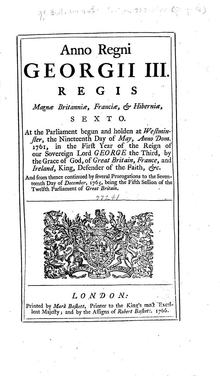 Anno Regni Georgii III ... Sexto
