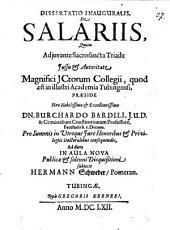 Dissertatio Inauguralis, De Salariis