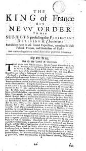 The king of France his new order to his subjects professing the protestant religion at Charenton: Volume 60