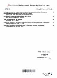 Organizational Behavior and Human Decision Processes PDF